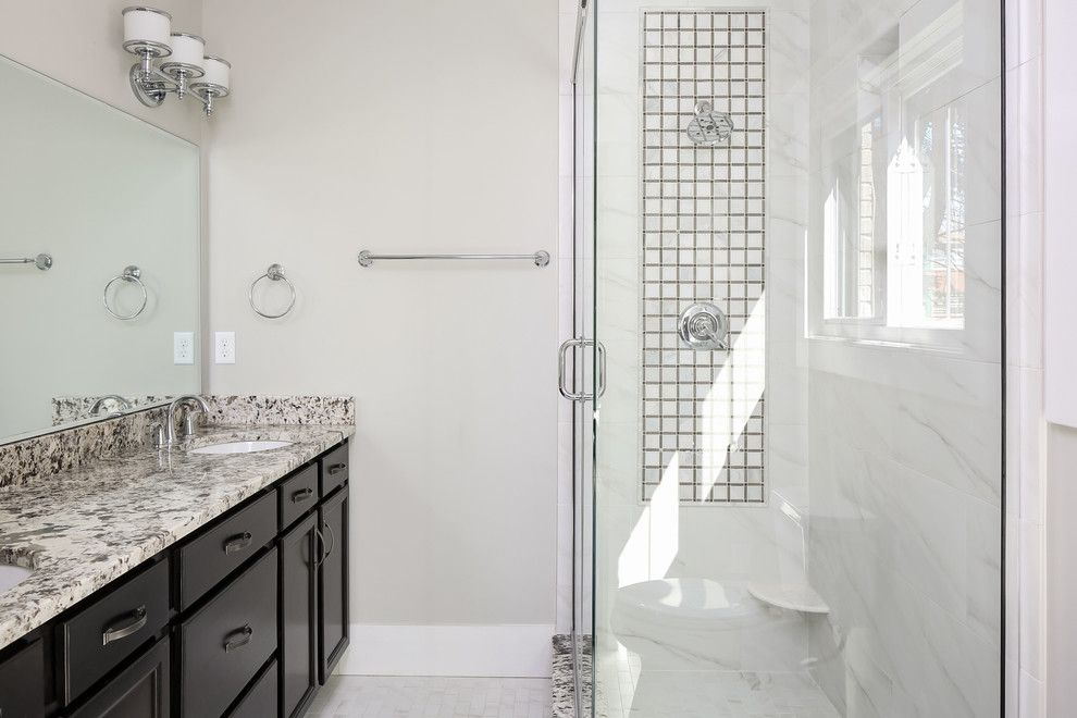 American Olean for a  Bathroom with a Jeffrey Court Ch 3 12 X 12 Mosaic Sleek Pattern B and Clasen and Associates Remodeling by Robin Straub