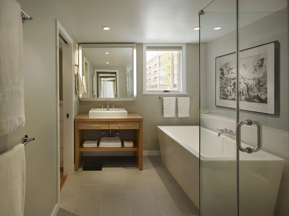 American Olean for a Contemporary Bathroom with a Light and Trinity Addition by Rasmussen / Su Architects