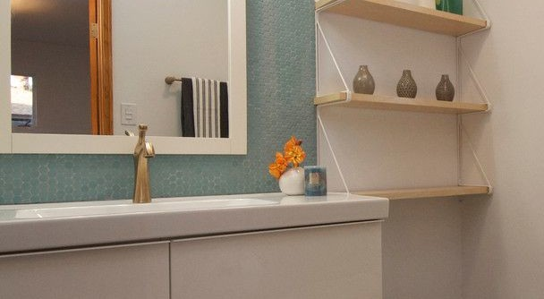American Olean for a Modern Bathroom with a Minimalist and Brass Tacks by the Ranch Mine