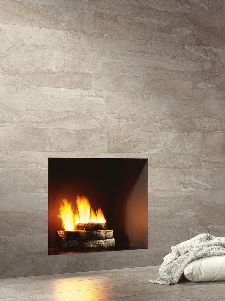 American Olean For A Modern Living Room With 6 X 48 Wall Tile And