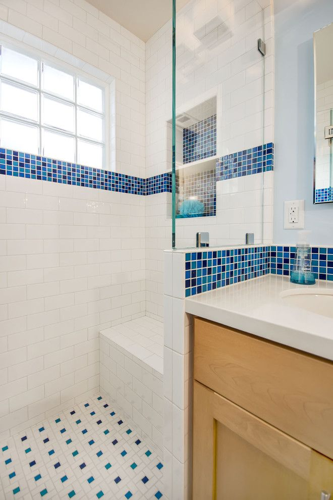 American Olean for a Traditional Bathroom with a Recycled Glass Tile and Shower Seat by Bill Fry Construction   Wm. H. Fry Const. Co.