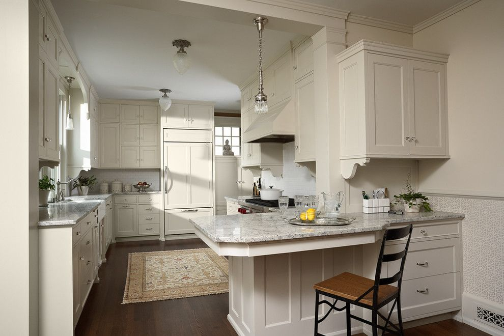 American Olean for a Victorian Kitchen with a Crown Molding and Summit Hill Shingle Style Home Remodel by David Heide Design Studio