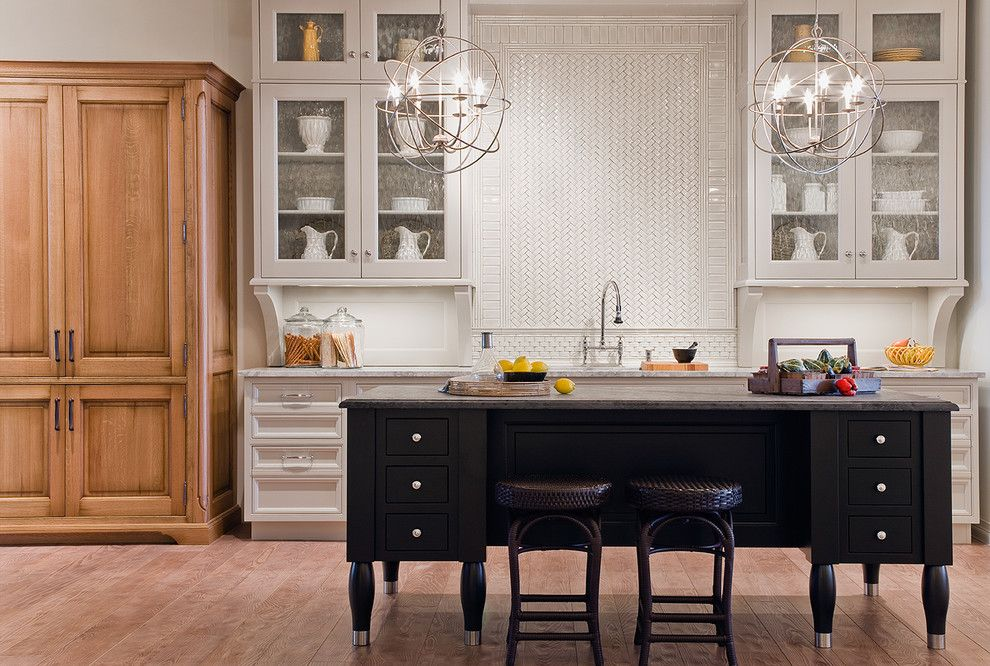 American Rattan for a Contemporary Kitchen with a Medium Wood and Stanford in Pewter by Venegas and Company