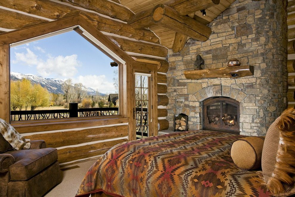 American Southwest Mortgage for a Rustic Bedroom with a Log Construction and Jackson Hole, Wy, Log Home by B&b Builders