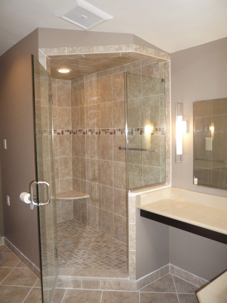 Anatolia Tile for a Contemporary Bathroom with a Quartz Top and Penn Valley Master Bath Remodel by Kitchen Technology