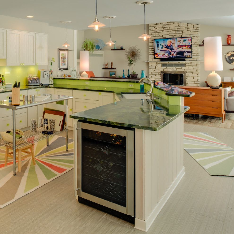 Anatolia Tile for a Eclectic Kitchen with a Living Room and Cape Cod...shaken, Not Stirred. by B.c.d. Interiors