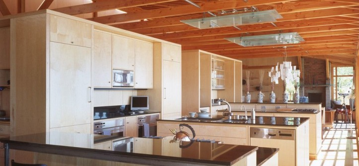 Anderson Plywood for a Industrial Kitchen with a Exposed Rafters and Our Work by Fairbank Construction Company
