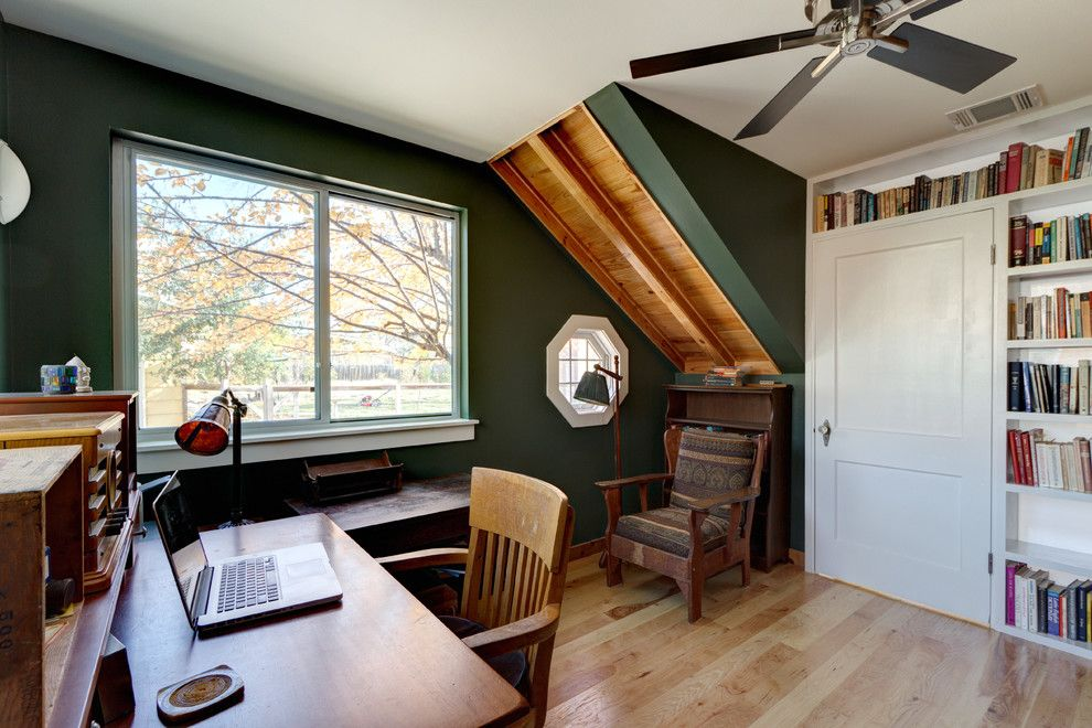 Anime Crave for a Eclectic Home Office with a Window and Modern, Eclectic, Traditional Austin Addition... Thanks Houzz by Moontower Design Build
