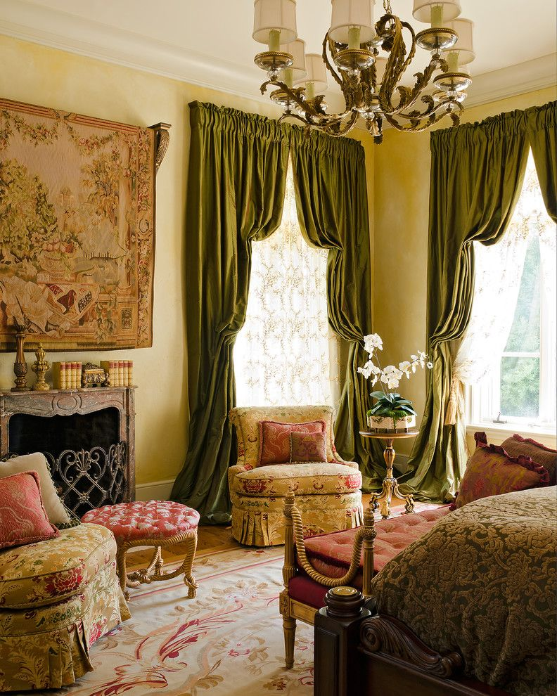 Antique Drapery Rod for a Traditional Bedroom with a Remote Control Tv Cover and Master Bedroom by Cabell Design Studio