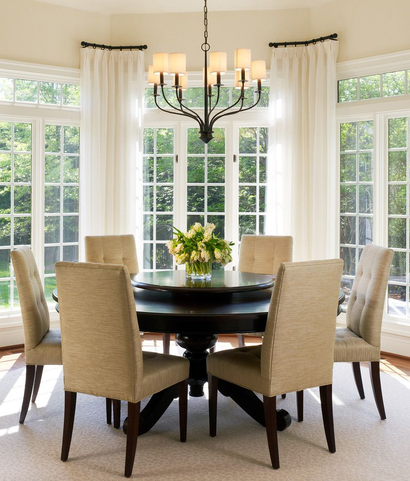 Antique Drapery Rod for a Transitional Dining Room with a French Doors and Tone on Tone Breakfast Room by Barnes Vanze Architects, Inc