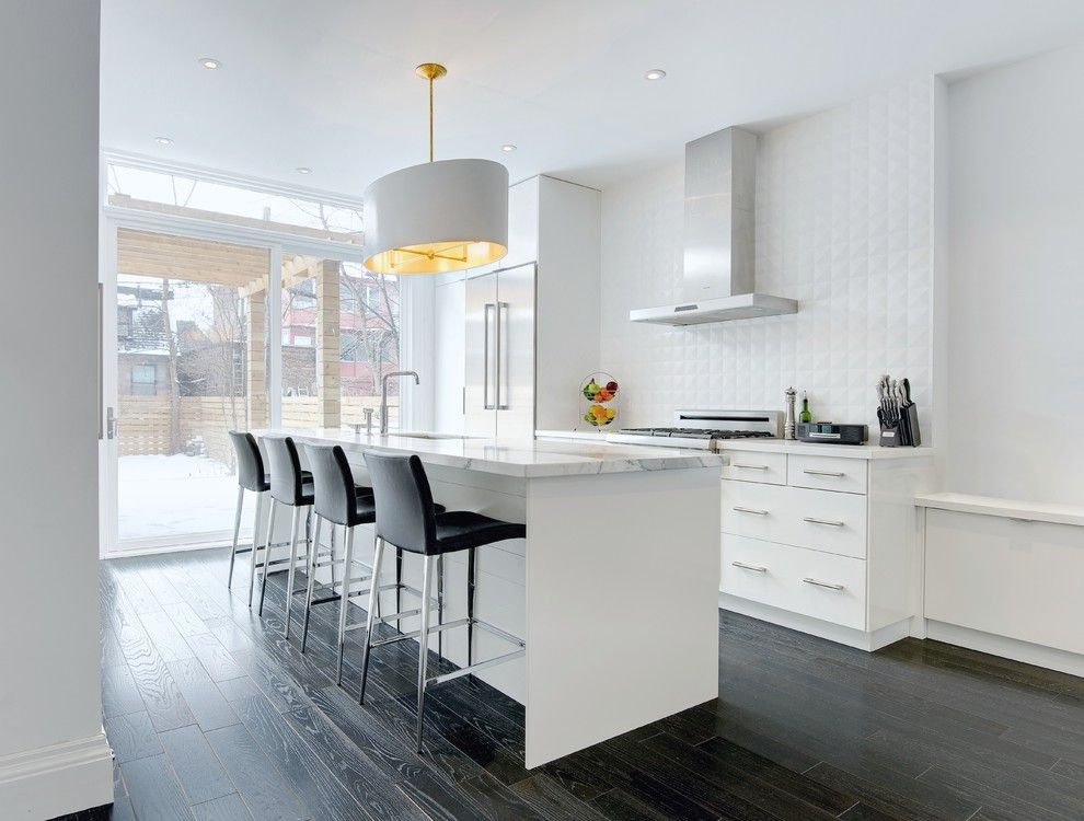 Aquabrass for a Contemporary Kitchen with a Dark Hardwood and My Houzz: Modern Annex Renovation by Andrew Snow Photography