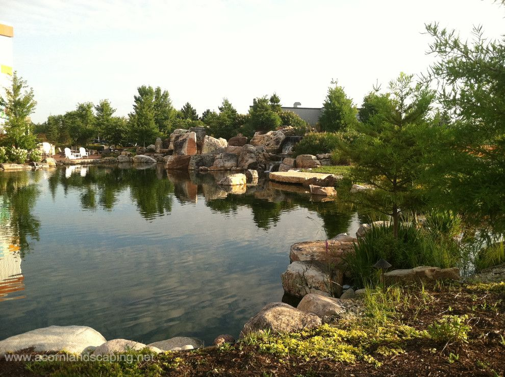 Aquascape for a Traditional Landscape with a Waterfall Builders and Worlds Most Extreme Ecosystem Pond Construction,Certified Aquascape Contractors by Acorn Ponds & Waterfalls