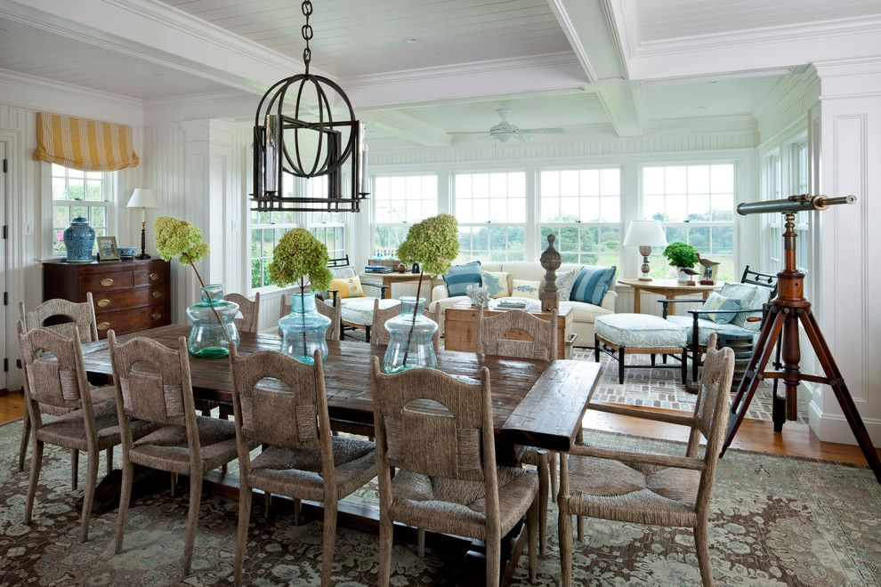 Arcadia Furniture for a Beach Style Dining Room with a White Ceiling and Beach Style Dining Room by Patrickahearn.com