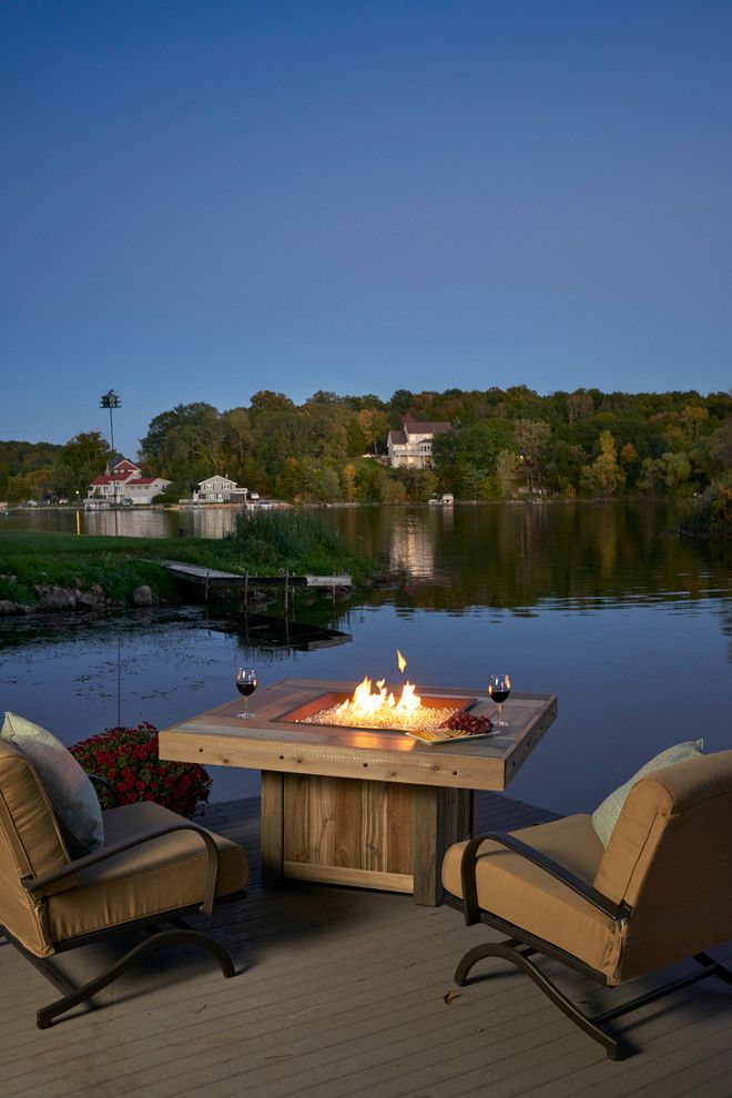 Arcadia Furniture for a  Spaces with a Dock and Lake View Outdoor Room by the Outdoor Greatroom Company
