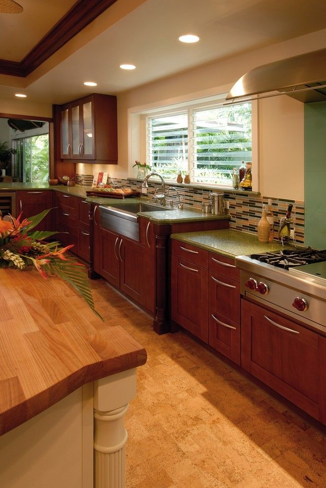 Archipelago Lighting for a Tropical Kitchen with a Green Countertops and Hale Aina by the Sea by Archipelago Hawaii Luxury Home Designs