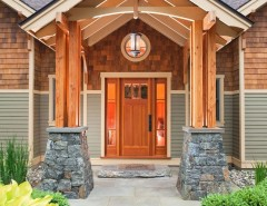 Architectural Ceramics for a Craftsman Entry with a Shingle and Kendrick: 2006 Saratoga Showcase of Homes by Phinney Design Group