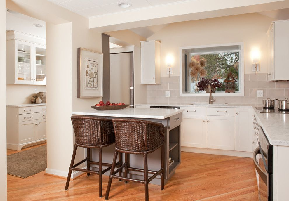 Architectural Ceramics for a Traditional Kitchen with a Breakfast Bar and Glen Echo Heights by Aidan Design