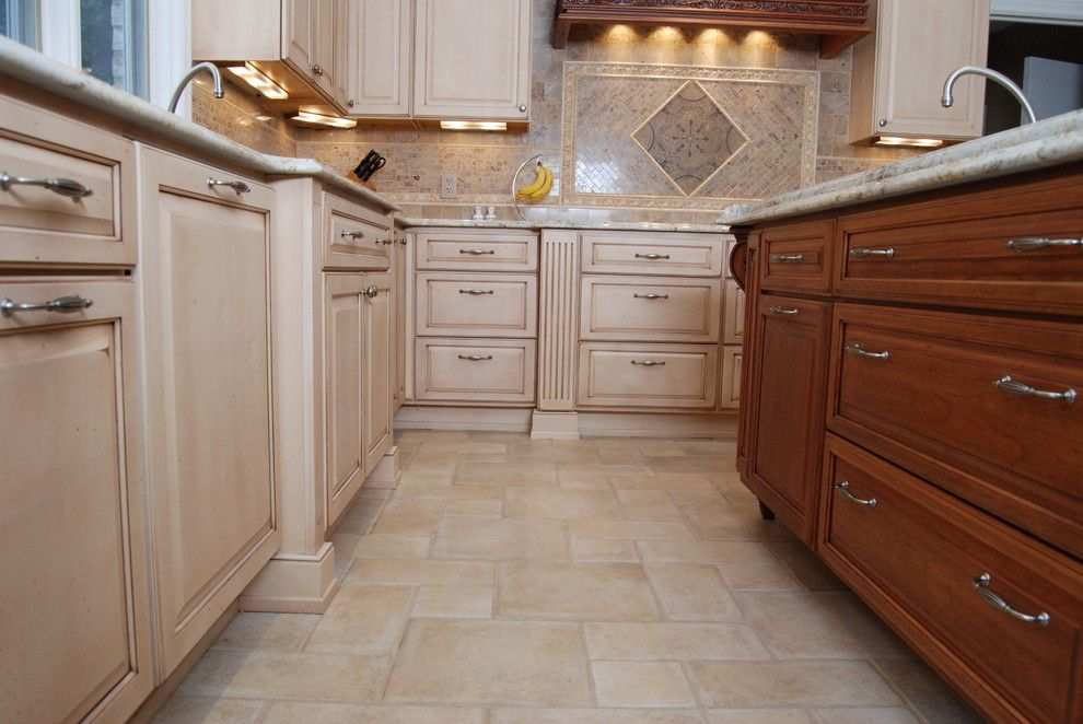 Architectural Ceramics for a Traditional Kitchen with a Flooring and Architectural Ceramics Floor and Backsplash Tile by Architectural Ceramics Tile & Stone