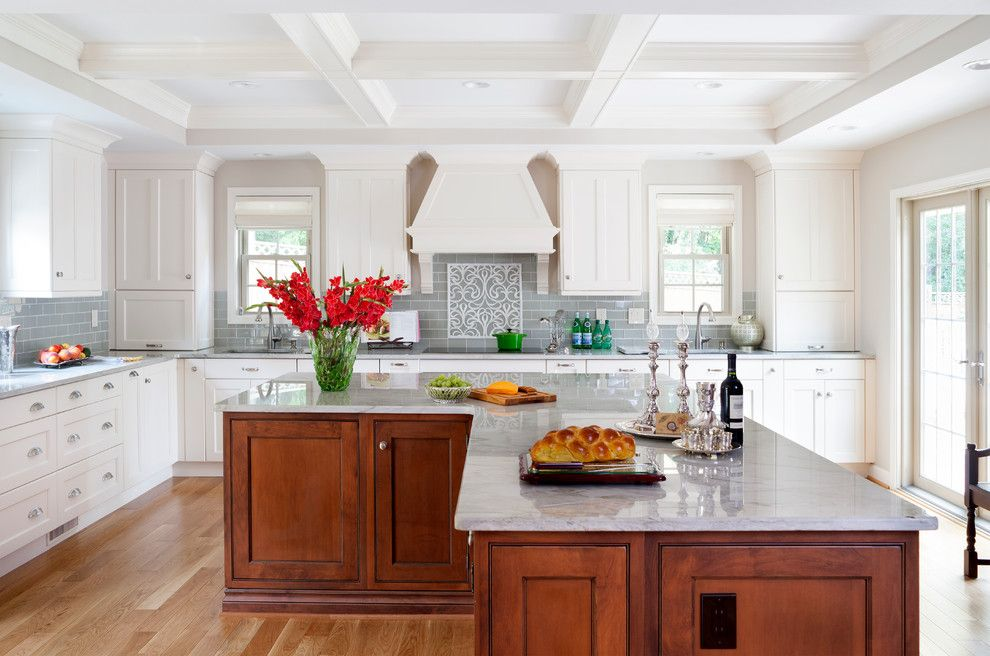 Architectural Ceramics for a Traditional Kitchen with a Tile Accent Backsplash and Bright, Elegant Kitchen by Jack Rosen Custom Kitchens