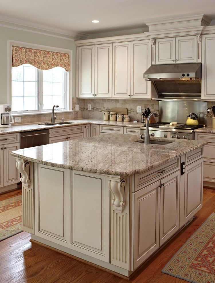 Architectural Ceramics for a Traditional Kitchen with a Valance and Garrett Park by Designing Solutions