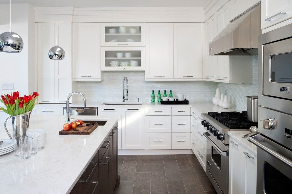 Architectural Ceramics for a Transitional Kitchen with a Stainless Steel Hood and Sleek Transitional Kitchen by Jack Rosen Custom Kitchens