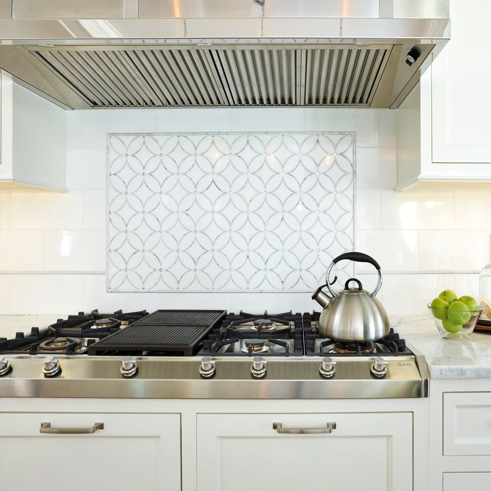 "Architectural Grille for a Contemporary Kitchen with a Accent Tile and ILVE 48"" Professional Gas Cooktop by ILVE USA"
