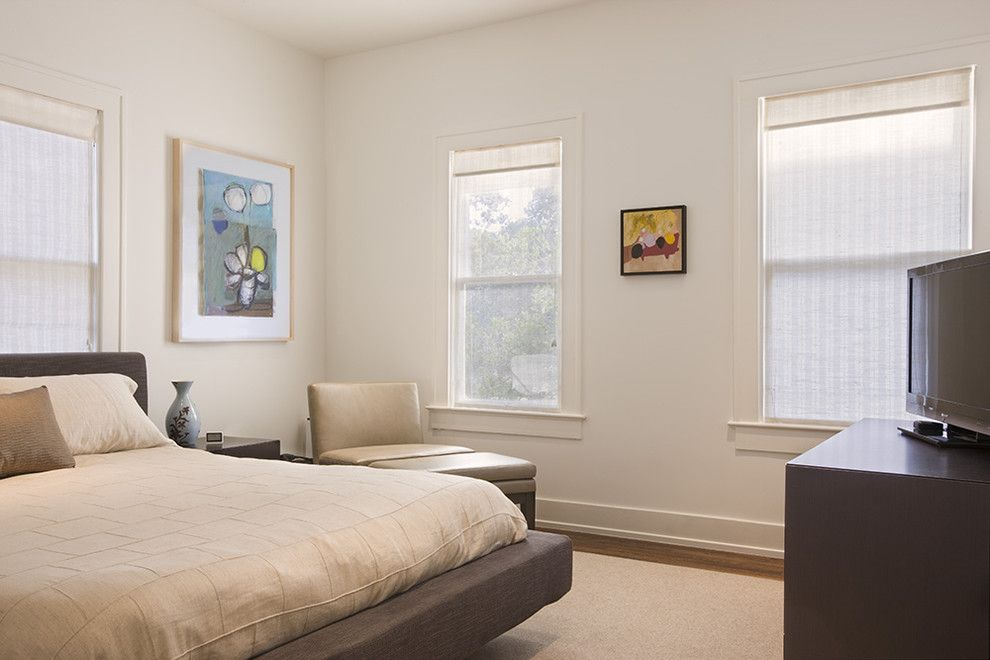 Architrave for a Contemporary Bedroom with a White Wood and Travis Heights Residence by Texas Construction Company