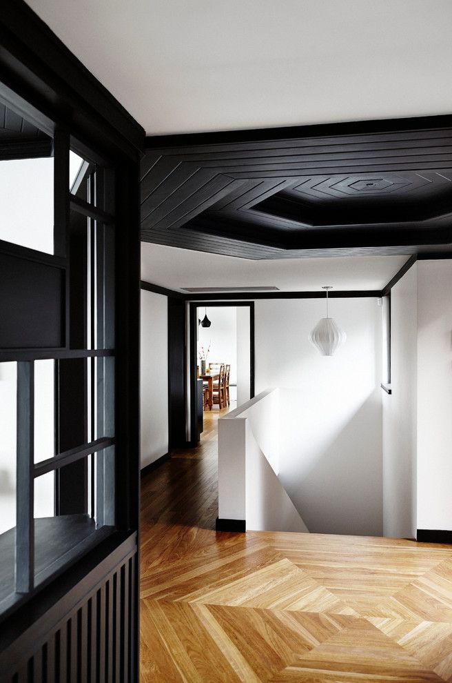 Architrave for a Contemporary Hall with a Black Window Frames and Castlecrag House by Jeff Karskens Designer