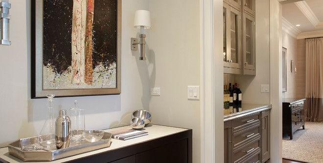 Architrave for a Traditional Hall with a Dark Wood Cabinet and Highland Park Nantucket by Highgate Builders
