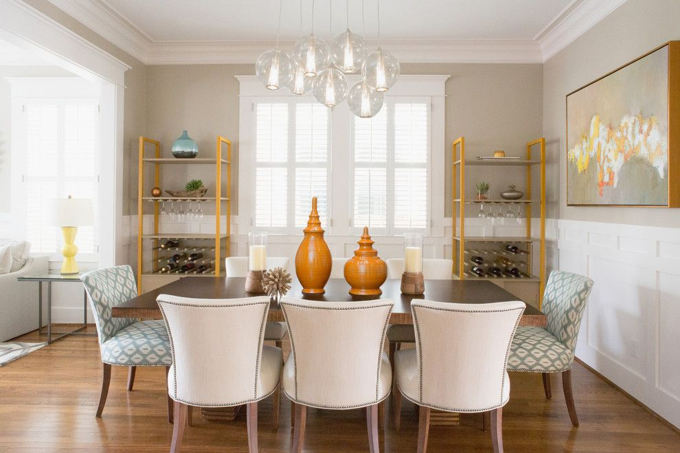 Architrave For A Transitional Dining Room With Pendant Lighting And Houston Heights By Kelle Contine