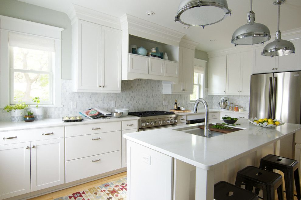 Aristokraft Cabinets for a Contemporary Kitchen with a White Countertops and Curbly Kitchen Remodel, Brought to You by Aristokraft by Masterbrand Cabinets, Inc.