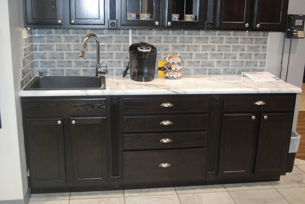 Aristokraft Cabinets For A Transitional Kitchen With A Leaded Glass And  Coffee, Tea, And