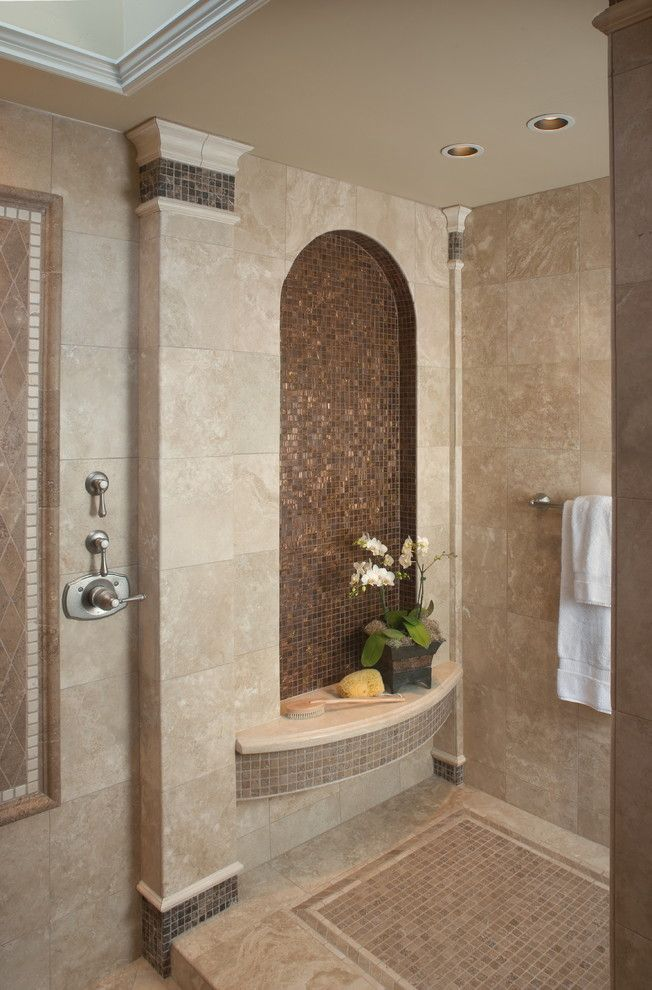 Arizona Tile Tempe for a Mediterranean Bathroom with a Mosaic Tiles and Fleming Master Bath by James Patrick Walters
