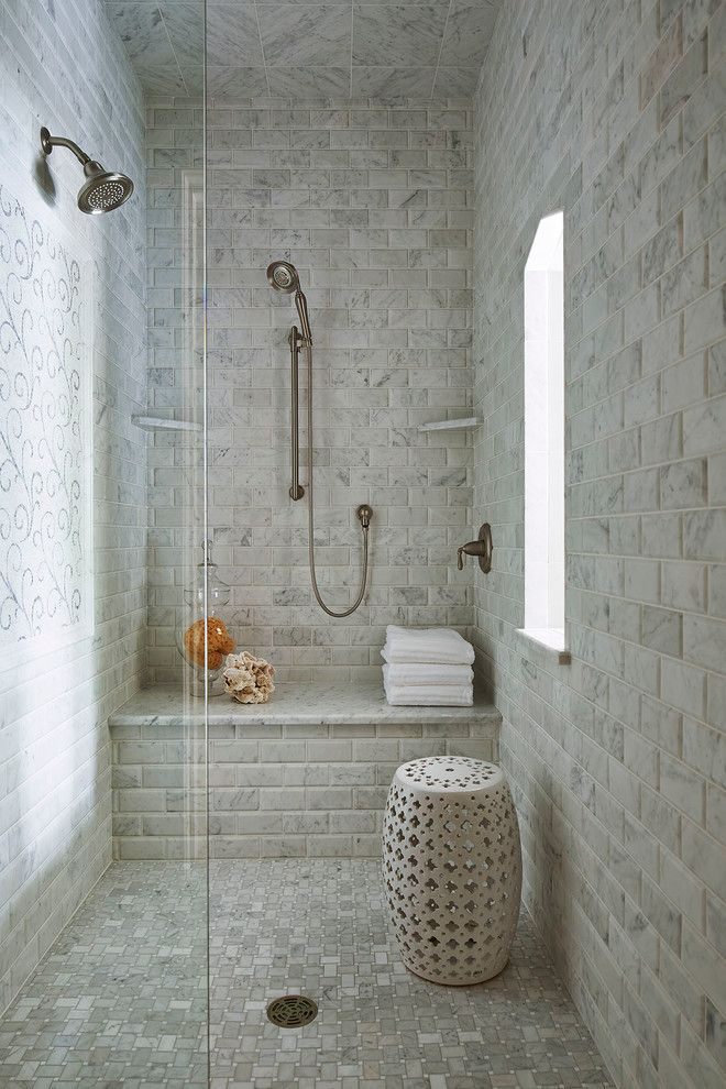 Arizona Tile Tempe for a Traditional Bathroom with a Gray Tile Wall and Locust Hills Drive Residence by Martha O'hara Interiors