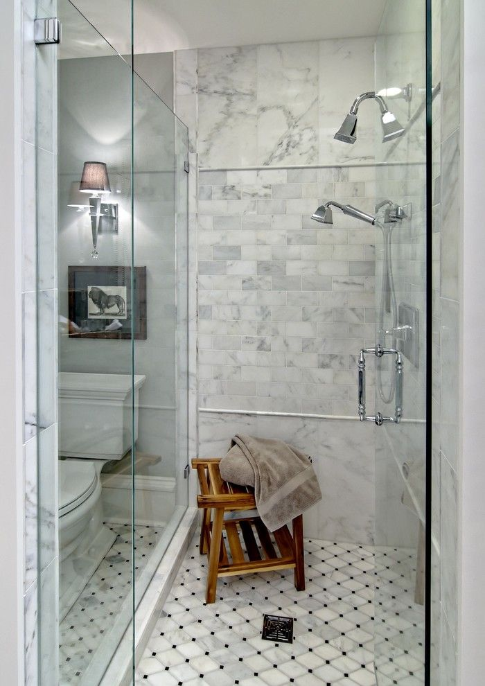 Arizona Tile Tempe for a Traditional Bathroom with a Stool and the Woodshop of Avon by the Woodshop of Avon