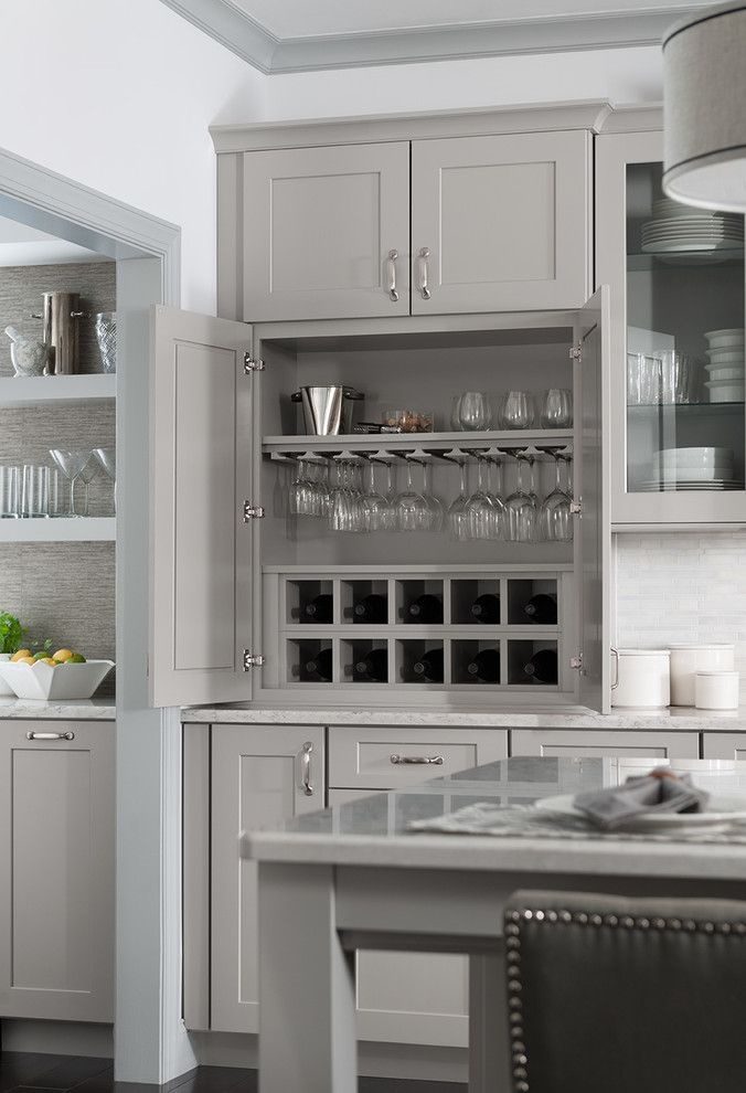 Armstrong Cabinets for a Transitional Kitchen with a Gray Trim and Organization by Shenandoah Cabinetry
