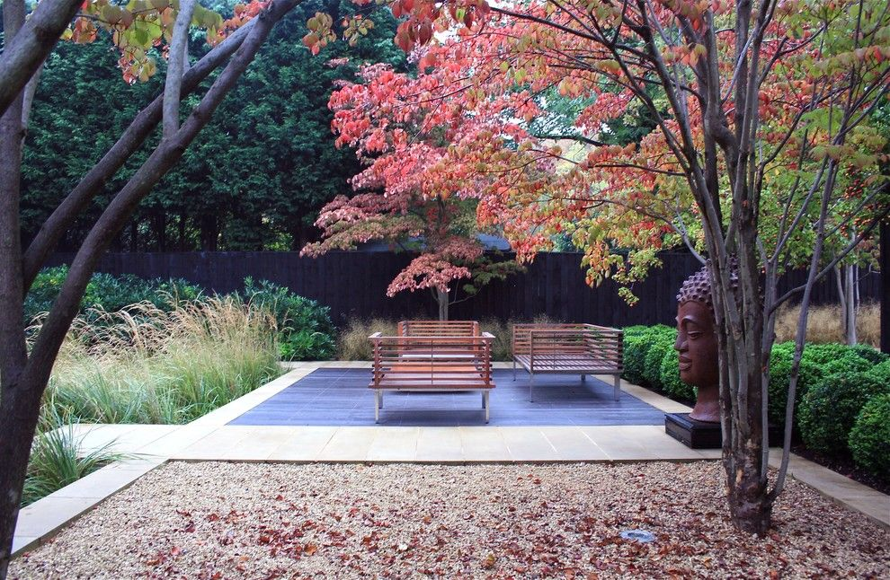Armstrong Garden Center for a Contemporary Patio with a Hardwood Decking and the Woodyard, Dulwich, London by Annie Pearce