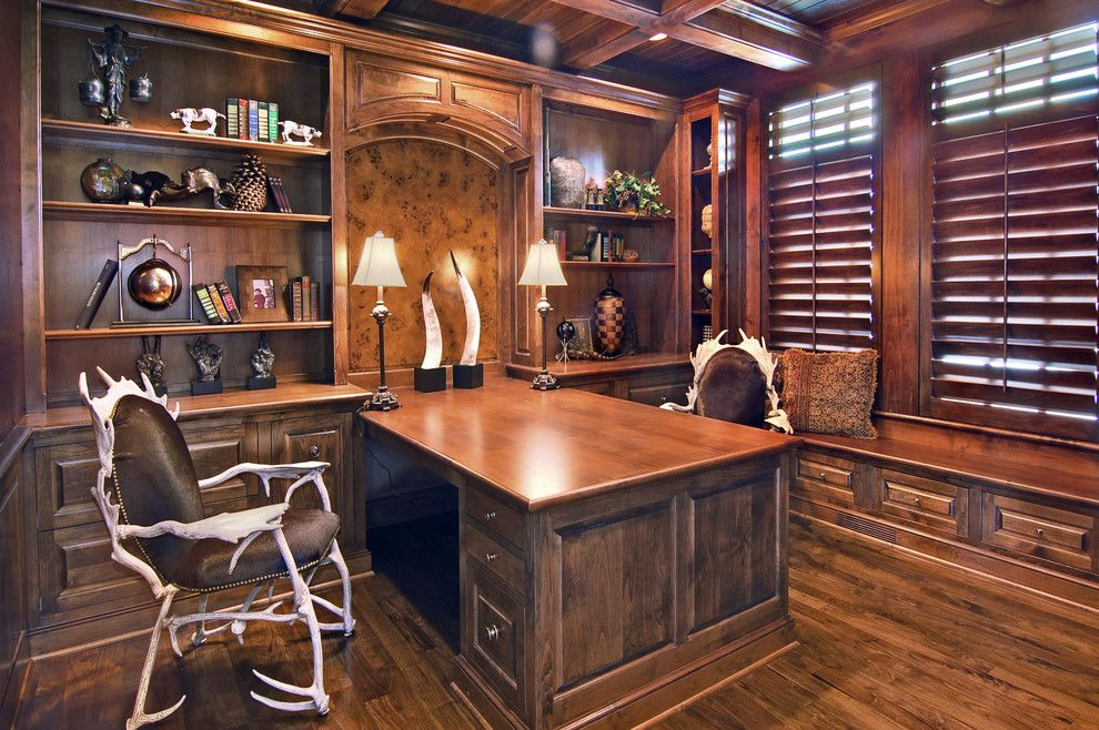 Arteriors Home for a Traditional Home Office with a Built in Shelves and Home Office by John Kraemer & Sons
