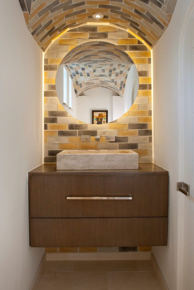Arto Brick for a Contemporary Powder Room with a Sink and Caruth by Tatum Brown Custom Homes