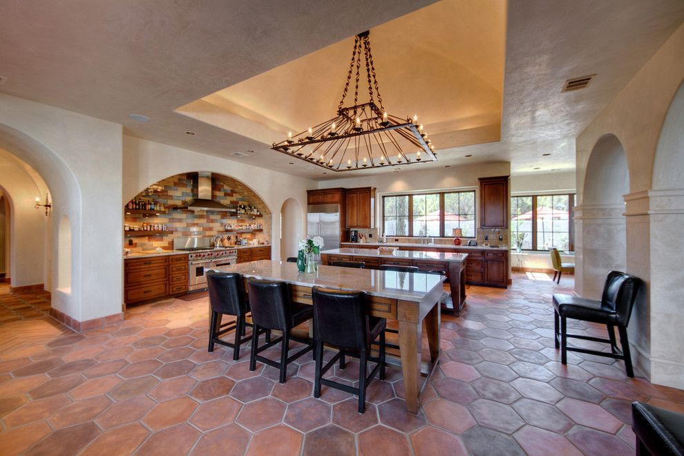 Arto Brick for a Mediterranean Kitchen with a Eat in Kitchen and Santa Barbara in Texas by Joseph Volpe, Designer