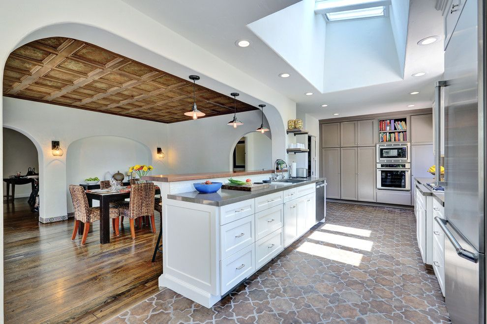Arto Brick for a Mediterranean Kitchen with a Tile Floor and O'brien Residence by Letter Four, Llc