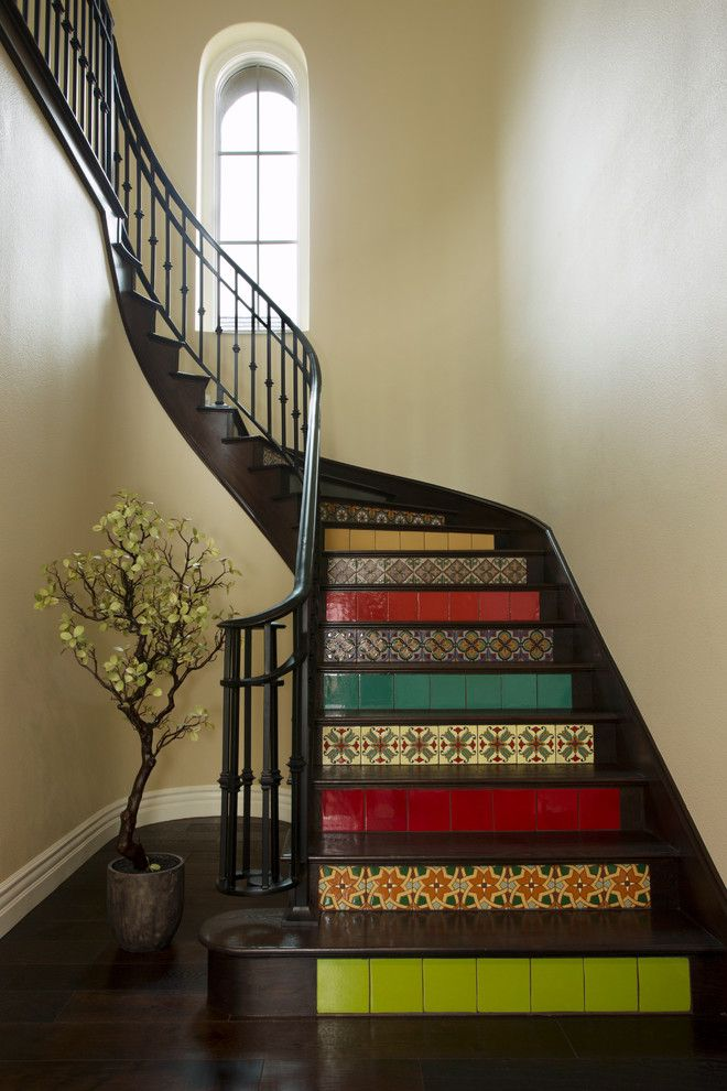 Arto Brick for a Mediterranean Staircase with a Colorful Tile Risers and My Houzz: Andalusian Styled Modern Family Home by Margot Hartford Photography