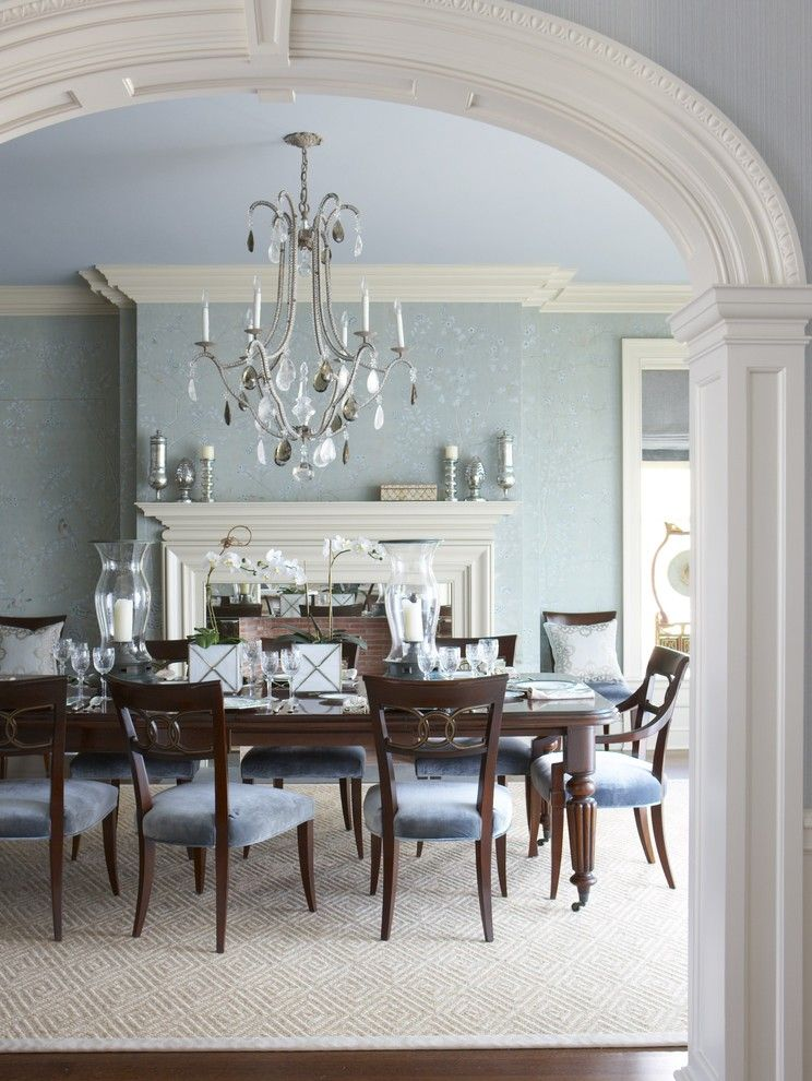 Ashley Furniture Chattanooga for a Traditional Dining Room with a Blue Walls and a Classic Ct Home with a Modern Flair by Rinfret, Ltd.