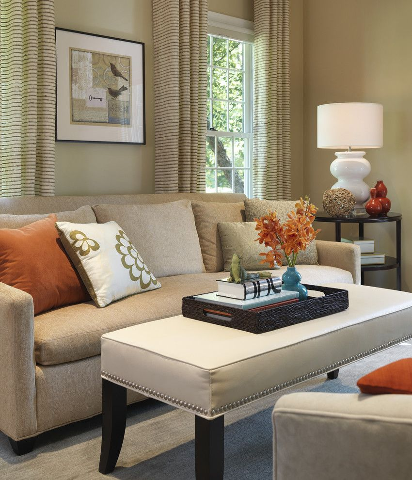 Ashley Furniture Chattanooga for a Transitional Living Room with a Gourd Lamp and Living Room by Rachel Reider Interiors