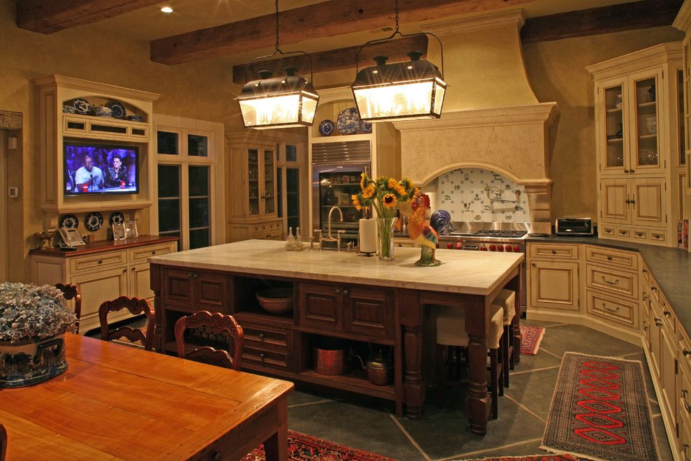 Ashley Furniture Columbia Sc for a Traditional Kitchen with a Bluestone Floor and Antique Beams Highlight  and Give Warmth to This Kitchen. by Christopher a Rose Aia, Asid
