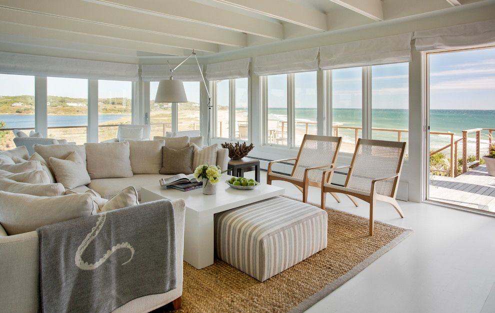Ashley Furniture Reno for a Beach Style Living Room with a Sisal Rug and Stonewall Beach Residence by Martha's Vineyard Interior Design