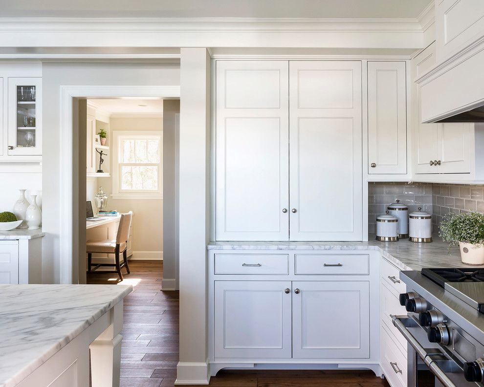 Ashley Norton Hardware for a Traditional Kitchen with a Classic and Lake Minnetonka Tailored White Kitchen by Liz Schupanitz Designs