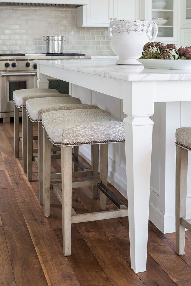 Ashley Norton Hardware for a Traditional Kitchen with a Island and Lake Minnetonka Tailored White Kitchen by Liz Schupanitz Designs