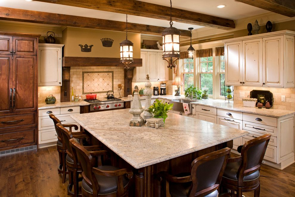 Astoria Granite for a Traditional Kitchen with a Wrought Iron Pendant Lights and Bridgeview   New Home Construction by Bob Michels Construction, Inc.