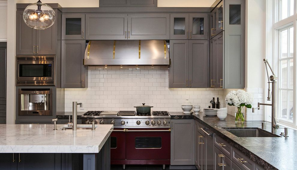 Atherton Appliance for a Contemporary Kitchen with a Beige Subway Tile Backsplash and Atherton Oasis by Jules Art of Living